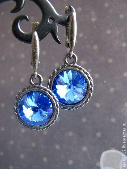 Блеск!!! - серьги,сапфир,синие,кристаллы сваровски,черненое серебро,Сваровски