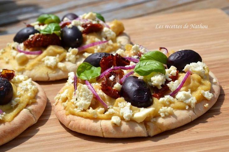 Pains pita à la grecque comme une pizza