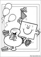 Coloriage de l'anniversaire de Mr Anniversaire