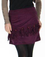 Jupe courte à franges Originale en Suédine Salman Prune est l'un des vêtements phares de la mode ethnique disponible actuellement sur www.akoustik-online.com.