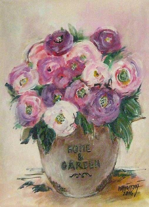 Kvety vo váze, akryl