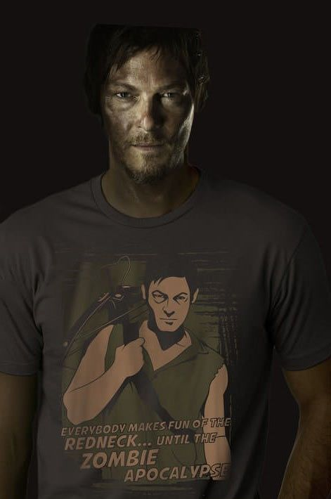 Only Daryl can pull off being the guy wearing his own face on a t-shirt