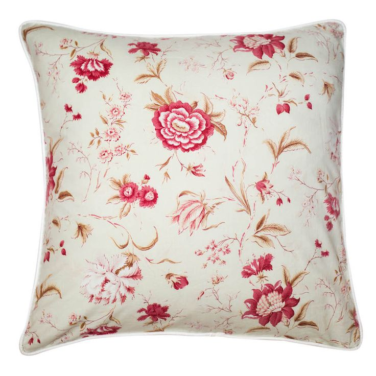 French Floral Cushion Cover This 60x60cm cushion cover is made from French vintage 100% linen. The sweet print is a faded pink floral on a duck egg blue background. The cover is piped and backed in quality cream linen and has a concealed zip closure on one side. Nest, Stellenbosch