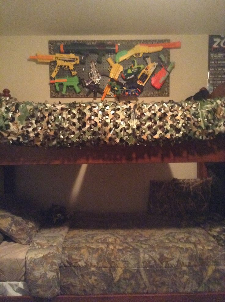 Finally made a camo military inspired toy/nerf gun rack for Jayden's Army room!:)