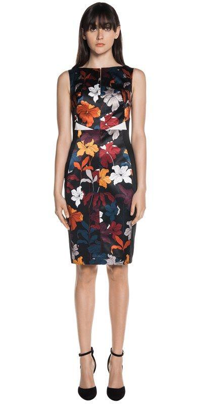 CUE - Floral Print Satin Panel Dress