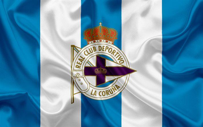 Download wallpapers Deportivo La Coruna, football club, Deportivo emblem, logo, La Liga, La Coruna, Spain, LFP, Spanish Football Championships