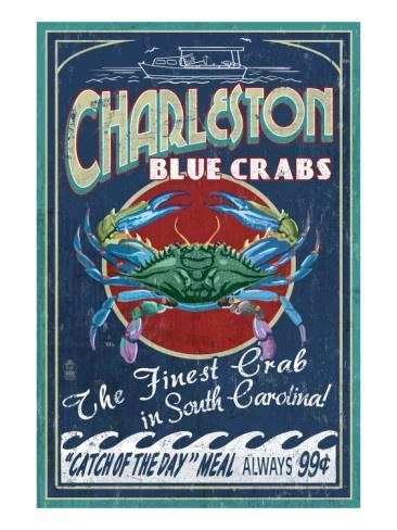 Charleston, South Carolina - Blue Crabs Art Print  $25