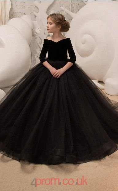 8bd11249c1bf Scalloped 3/4 Length Sleeve Black Kids Prom Dresses CHK037 | Kids ...