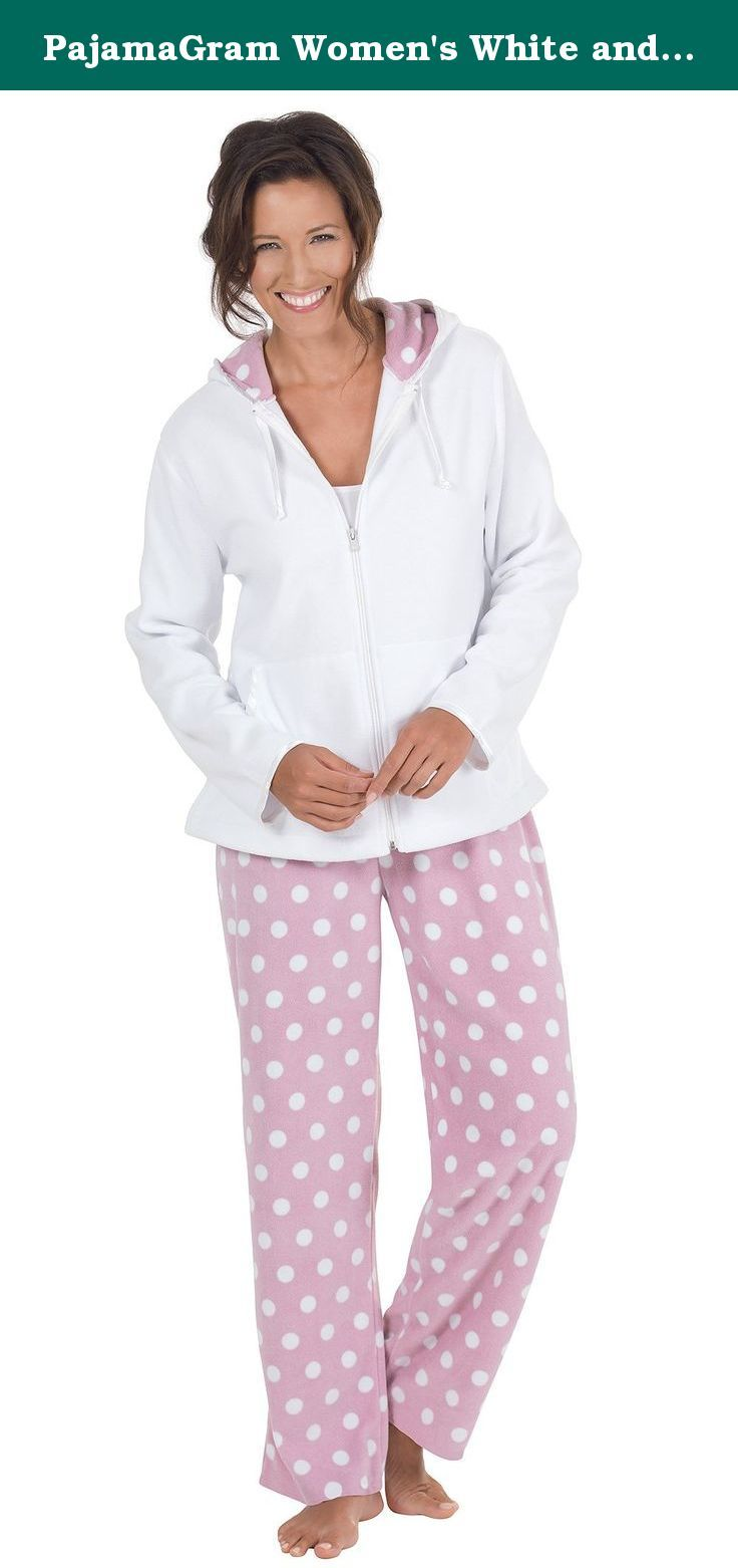 PajamaGram Women's White and Pink Fleece Hoodie Pajamas w/Hoodie Top. Spoil her with these positively perfect pink polka dotted pajamas! Our popular hoodie pajamas are great for ladies who love practical loungewear. They come with a white zip-up hoodie — complete with kangaroo pockets and a hood lined with a sensational pink and white polka dot print — plus super-comfy pajama pants with all-over pink and white dots. These comfortable women's pajamas feature an elastic, drawstring waist and…