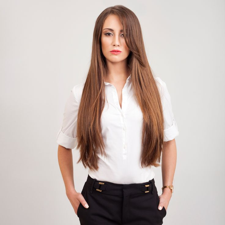 Chocolate Brown FrontRow Clip-In Hair extensions on model Melissa :) Avaliable for purchase at www.frontrow.co.za