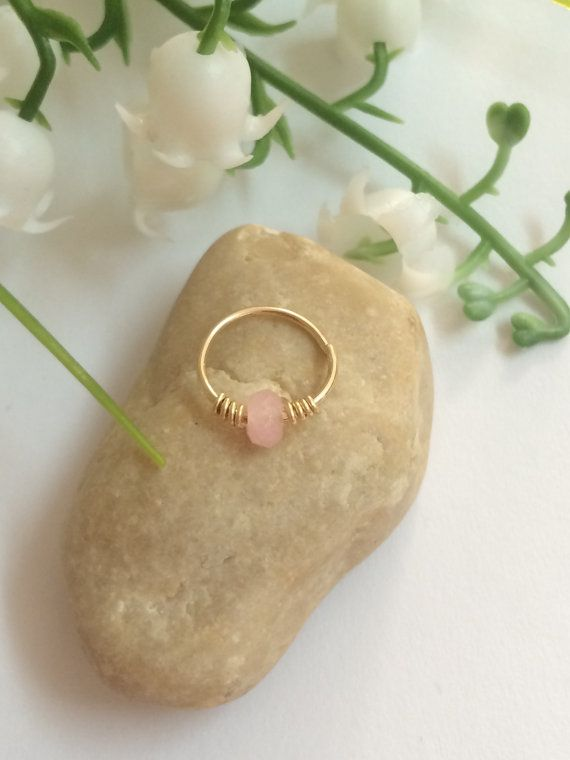 Rose Quartz Septum  Helix Piercing  Septum by FlowerRainbowNJ