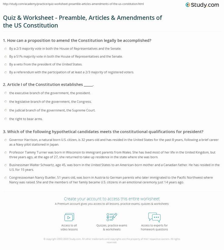 United States Constitution Worksheet Fresh Quiz
