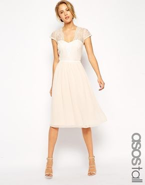 ASOS TALL Midi Skater Dress With Scallop Lace And Chiffon