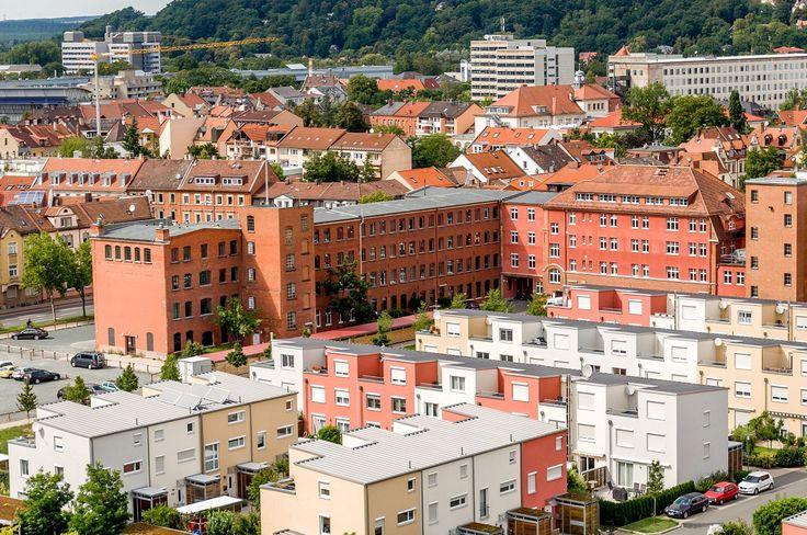 Aerial view of life in Erlangen, Germany