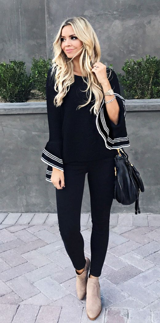 cfc801e2b96  fall  outfits women s black and white long-sleeve shirt with black pants.  Click To Shop This Look.
