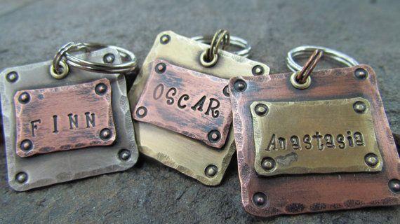 Pet Tags - Dog Tag - Pet ID Tag - Pet Tag - Mixed Metals Copper, Brass or Nickel. $9.00, via Etsy.
