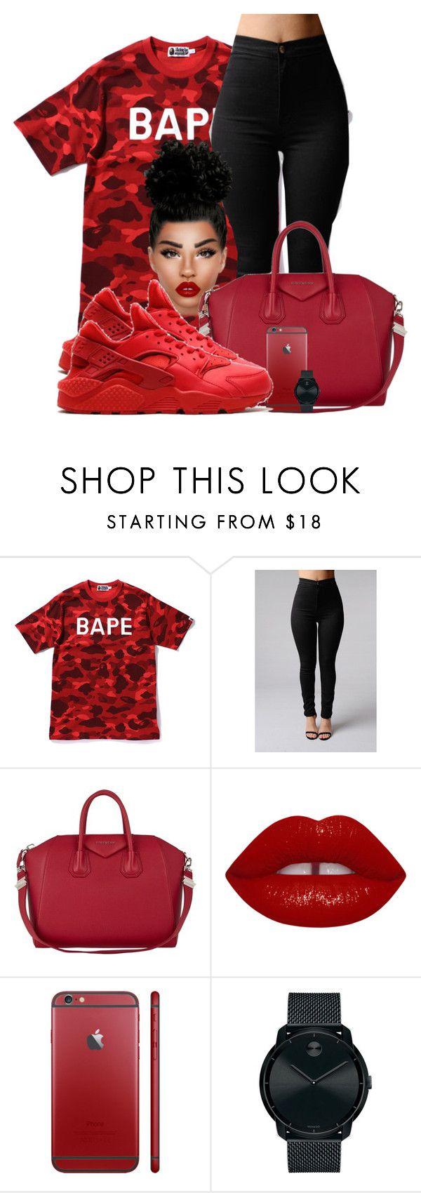 """Red bape"" by chiamaka-ikaraoha ❤ liked on Polyvore featuring A BATHING APE, Givenchy, NIKE and Movado"