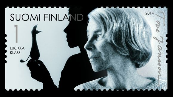 To honour author and artist Tove Jansson's birth 100 years ago, The Finnish Post has launch on Jan 31, 2014 two stamps designed by Klaus Welp. Here she is holding her beloved character Nipsu in her hand. The campaign is called TOVE 100.