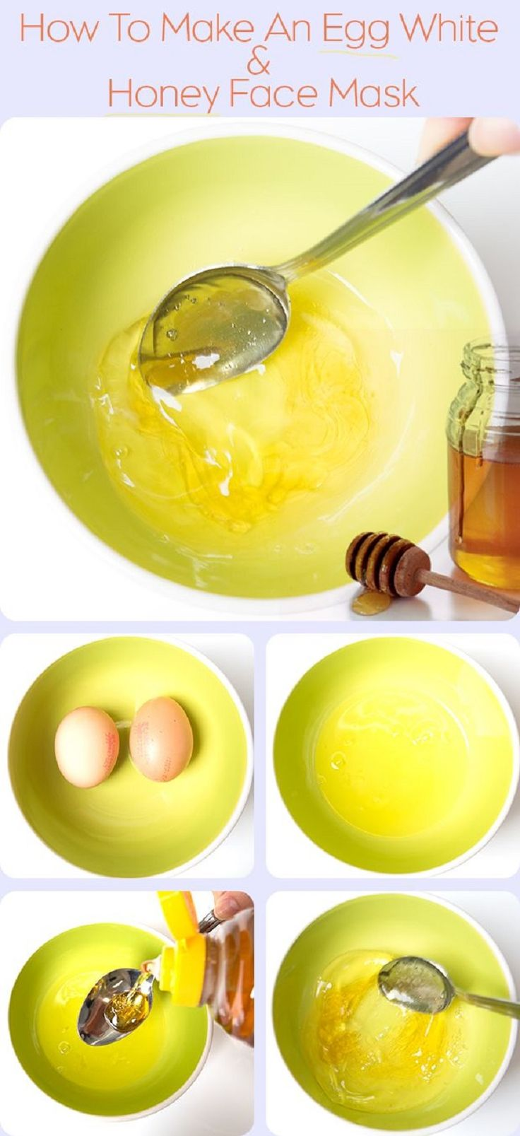 egg white & honey face mask - It shrunks your pores and makes your skin glowing