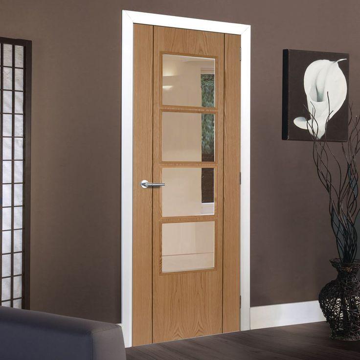 Vision Oak 4 Light Flush Veneer Door with Bevelled Clear Safety Glass is Pre-Finished & 58 best P M MENDES Internal Doors images on Pinterest | Indoor gates ...