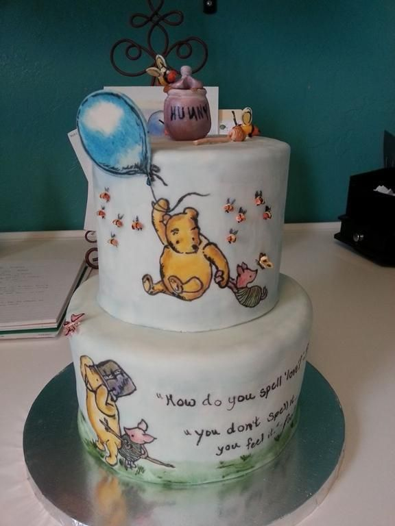 A classic Winnie the Pooh hand painted cake by Sweet Chile Bakery,  a Stephanie Kellar Design