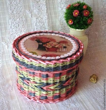 Шкатулка плетеная Летний сад - розовый,серый,папоротник,легкая,прочный