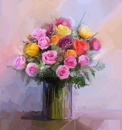 Downloaden - Still life een boeket van bloemen. Olieverfschilderij rood en geel roze bloemen in vaas. Hand beschilderde florale in zachte kleuren en de achtergrond wazig stijl — Stockbeeld #70140371
