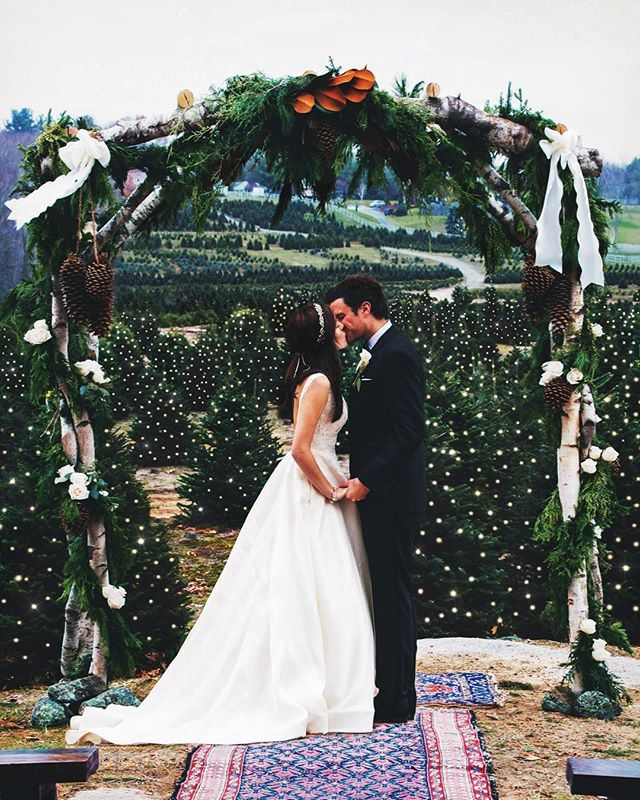 "Stunning wedding in a Christmas tree farm!!! ""You are my warmth in the cold. You are forever my other half.  You are my life after life.  You are forever my evergreen"""