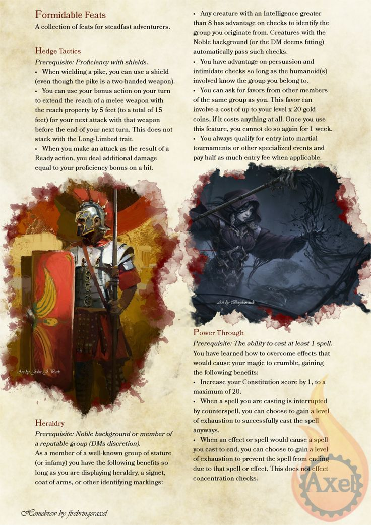 Formidable Feats #1. A selection of Feats themed off previous content or just ideas I've had. Homebrewed for Dungeons and Dragons 5th Edition by me. Artists are tagged with their art. PDF