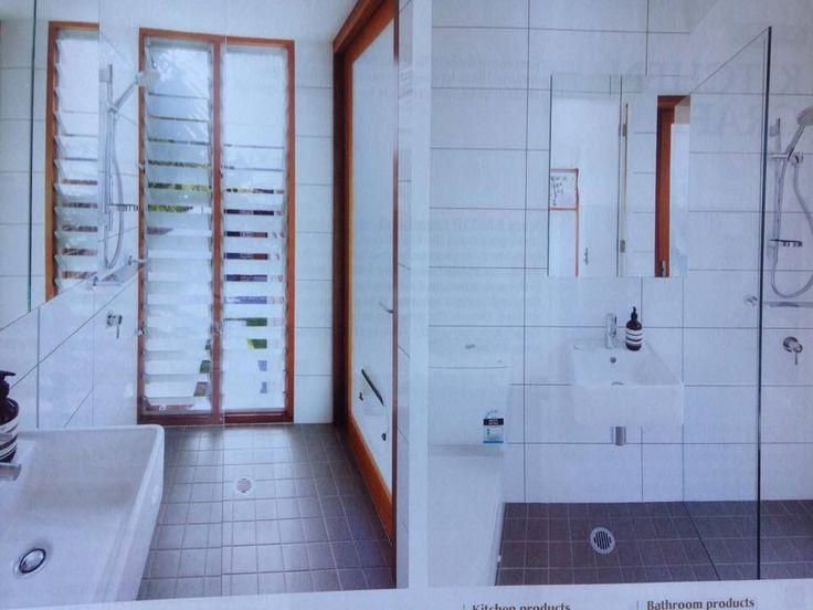 White wall tiles / charcoal floor tiles