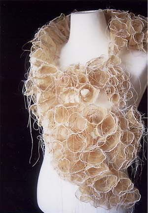 "Makiko Wakisaka -  ""life"" 2002  material : leaf vein, nylon thread, polyester thread, water soluble cloth  technique : machine stitch & hand stitch    '02 busan international fiber-fashion art festival Busan, Korea"