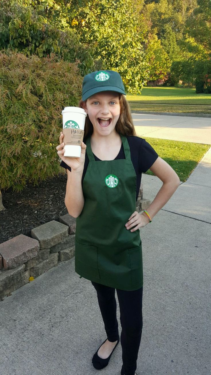 My Halloween costume. There are three steps to making this costume perfect. That one buy the costume. Have to adjust the apron to your knees and then sow it at that point. Step three get an empty cup from Starbucks and write your name on it.