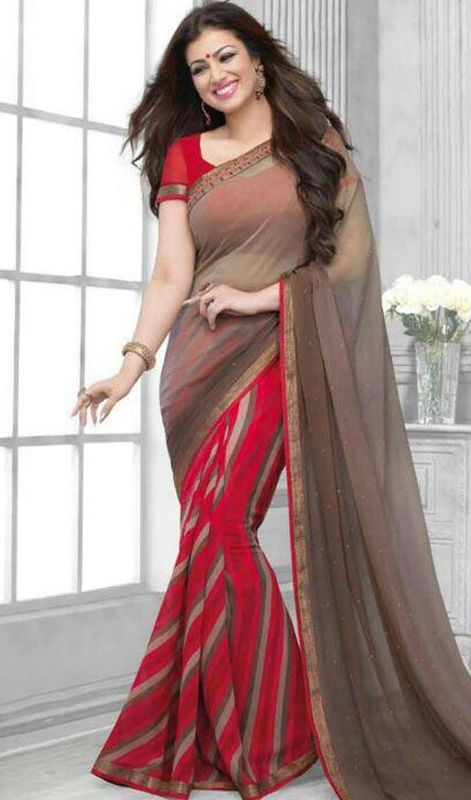 Get drenched yourself in compliments of lifetime like Ayesha Takia stepping out in this red and gray color printed georgette half n half sari. This pretty attire is showing some fantastic embroidery done with resham work. Upon request we can make round front/back neck and short 6 inches sleeves regular saree blouse also. #BeautifulDesignOfPrintedSari