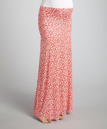 Loving this Red Floral Mid-Belly Maternity Maxi Skirt - Women on #zulily! #zulilyfinds