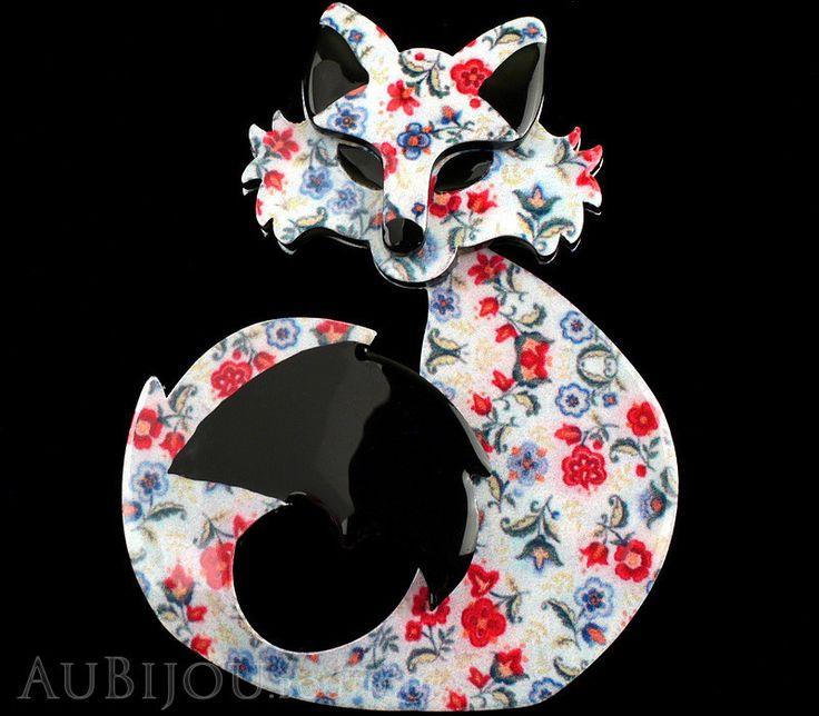 Erstwilder Fox Brooch Pin She's so Foxy Floral Print