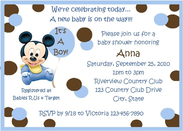 48 best baby shower mickey images on pinterest | mickey party, Baby shower invitations