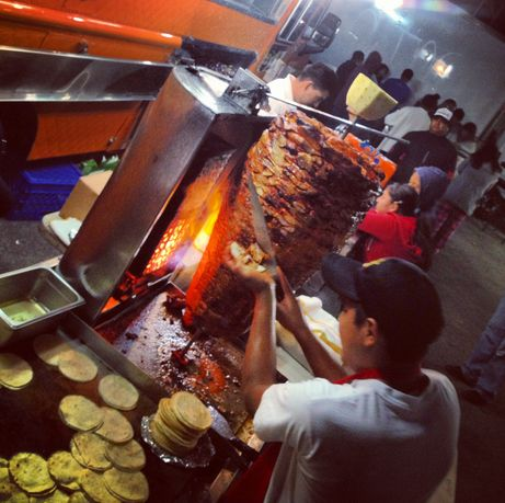 Tacos al pastor, a Mexico City delicacy since they were first created in the late 1950's. A staple for after a night of hard drinking and partying.