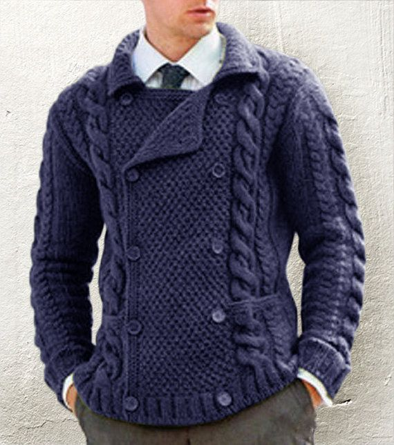 Hand knit men's double breasted sweater, BANDofTAILORS, Etsy