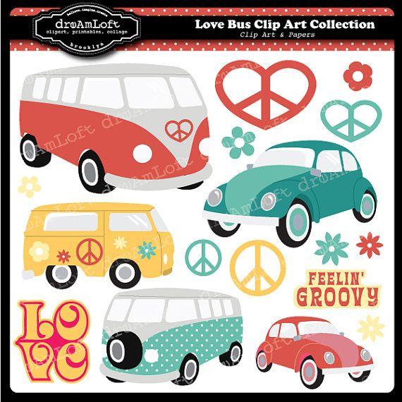 Amor Bus Digital Clip Art Set para temas de fiesta por DreAmLoft