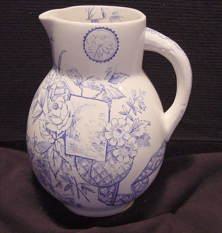 Aesthetic Transferware Pitcher ~ Lyons Pattern ~ William Alsager Adderley (& Co) England 1876-1885