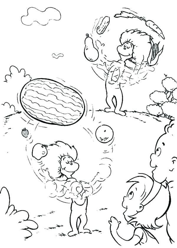Thing One And Thing Two Cartoon Coloring Pages Birthday