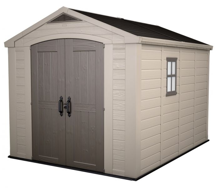keter factor 8 x resin outdoor yard garden storage shed