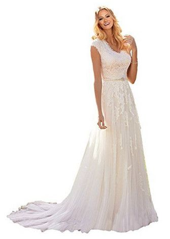 f76edff925 MILANO BRIDE Grace Princess V-Neck Floral Lace Wedding Dress for Bride Cheap  View our
