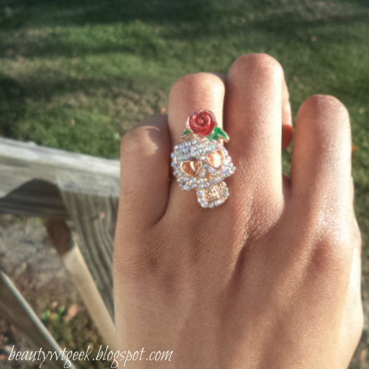 Cool Skull And Red Flower Rhinestone Studded Ring Midi Ring