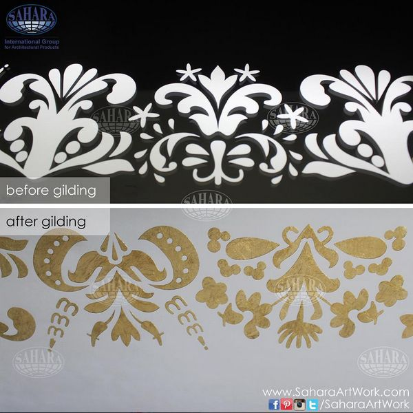 The term 'gilding' covers a number of decorative techniques for applying fine gold leaf or powder to solid surfaces such as wood, metal or glass.  This is close up from one of our gold leaf designs on silver mirror!