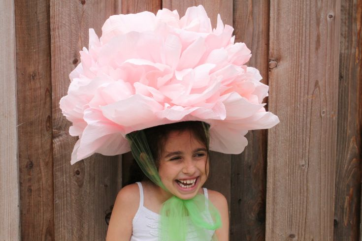 3rd-6th Grade Craft--tiffanie turner/corner blog peony pinatas or party hats for a birthday party--tutorial for extra large crepe paper peony hat.