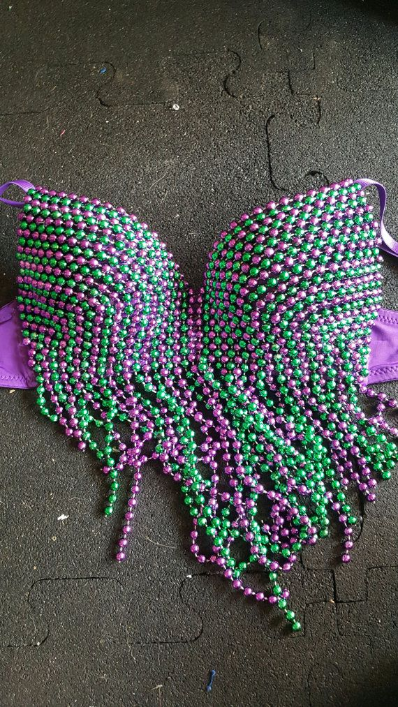 Purple and Green Mardi Gras Beaded Bra 32B by TheLalasBurlesque