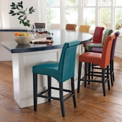 Valencia Leather Bar Stools-love the use of different color stools, fun to mix it up...