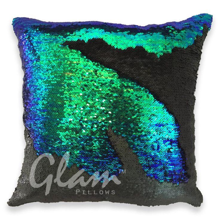 Mermaid Tail & Matte Black Reversible Sequin Glam Pillow – Glam Pillows