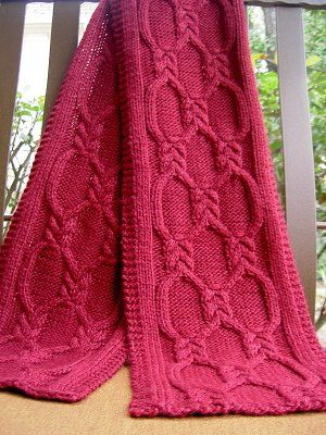 Free knitting pattern for Double-Knotted Cabled Scarf and more cable scarf knitting patterns